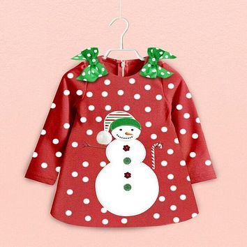 Xmas Baby Girls Dresses Red Santa Long Sleeve Tutu Dresses Kids Polka Dot Print Cute Dress Children Clothing