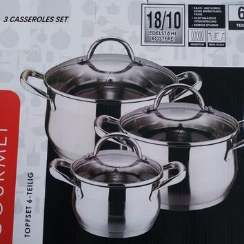 casseroles cookware set HIGH QUALITY 3 casseroles pots and  pans  COOKING POT stainless steel cookware set