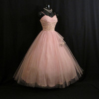 Vintage 50's 50s Bombshell PINK Tulle Lace Rosebuds Party Prom Wedding DRESS Gown