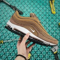 Nike Air Max 97 Qs Corduroy Brown Sport Running Shoes - Best Online Sale