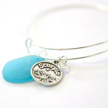 Silver Scorpio Bracelet - Blue Sea Glass, Swarovski Teardrop and Antique Silver - Simple Zodiac Accessory - One Size Fits All - Zodiacharm - Clay Space