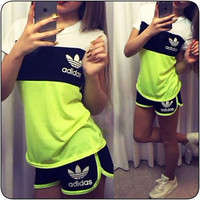 "Women Fashion ""Adidas"" Print Short sleeve Top Shorts Pants Sweatpants Set Two-Piece Sportswear Flourescent green+black"