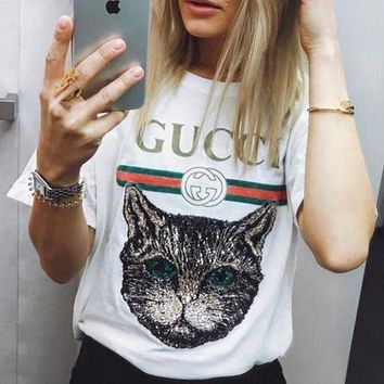 GUCCI 2018 Catwalk Model T-Shirt Embroidery Sequin Cat Shirt Tunic Blouse Trending Top