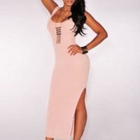 Sleeveless Back Slit Bodycon Maxi Dress