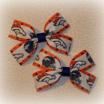 Denver Broncos Bows ~ Orange, Blue & White Bows ~ Broncos Clippies ~ Broncos Pigtails ~ Sports Team Bows ~ NFL Bows ~ Football Hair Bows