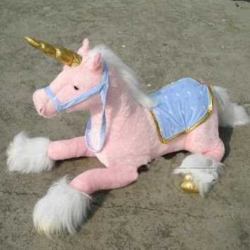 Giant Stuffed Unicorn (pink with gold horn)