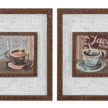 2 Framed Pictures - Retro Coffee Theme
