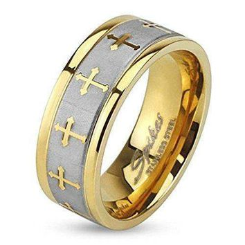 STR-0149 Stainless Steel Celtic Cross Gold IP Ring with Brushed Center Two Tone Ring; Sold as 1 Piece (10)