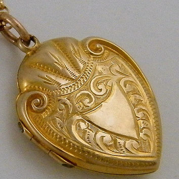 "Antique Gold Locket C1910 9K ""Marriage"" Necklace Edwardian Protection Shield Marriage Anniversary Jewelry Gift"