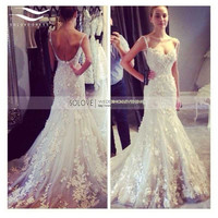 2016 Luxury Sexy Lace Beach Wedding Dress Saudi Arabia Sweetheart Appliqued Casamento Bridal Dress Gown vestido De noiva