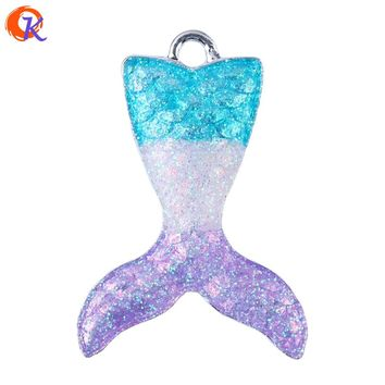 38*37MM 10Pcs/Lot Fashion Pendant Jewelry Accessories Alloy Fish Mermaid Tail Pendant Mermaid Pendant  Alloy Necklaces & Pendant