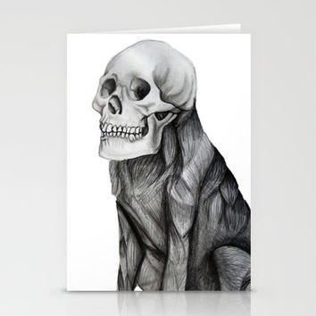 skullpug // A brutal pug wearing a human skull made in pencil Stationery Cards by Camila Quintana S