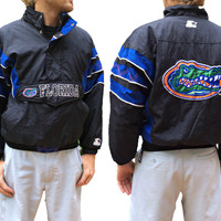 Vintage 1990's Florida Gators Starter Jacket - University of Florida Team Coat - Embroidered Patches -Black, Blue, & Orange - Size Small