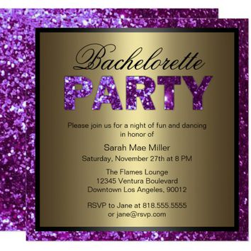 Purple Glitter Bachelorette Party Invitation