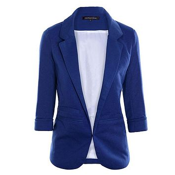 Autumn Women 7 Colors Slim Fit Blazer Jackets Notched Office Work Open Front Blazer Outfits Candy Color Coats