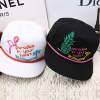 Pineapple Sweets Embroidery Pradise Cartoons Hip-hop Hats Summer Baseball Cap [6420304516]