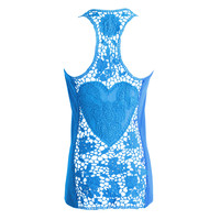 Blue Sleeveless Vest Racer Back Crochet Cut Out Blouse