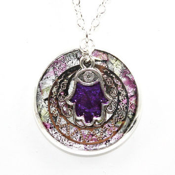 Spring Floral Marble Inlay Pendant with Hand Enameled Mulberry Pewter Hamsa