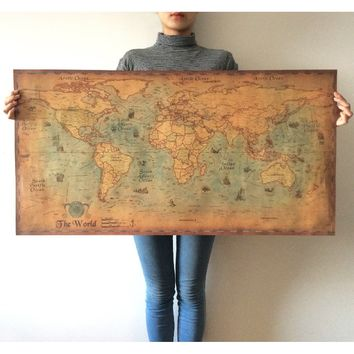 New Popular Large Retro World Map Kraft Paper Art Crafts Maps Bar Cafe Pub Wallpaper Living Room Poster Paint Vintage Wall Stick