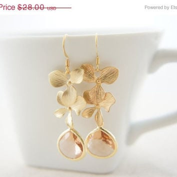 10% OFF Gold orchid earrings with peach pink color gem, wedding, bridesmaid, gift