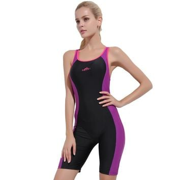Modest Athletic Black Swimwear Women Swimsuits One Piece Female Bodysuits Bathing Suits Ladies Swimming Clothes 2018 DCO