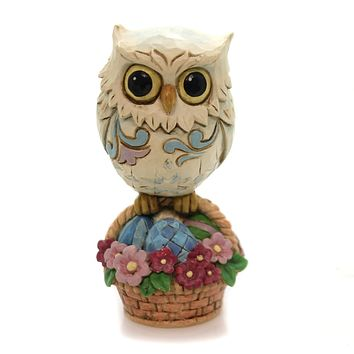 Jim Shore Easter Owl On Basket Mini Easter & Spring Figurine