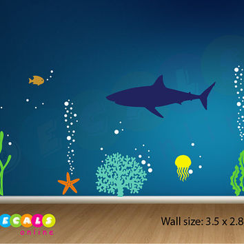 Sea life Wall Decal, Sealife Wall Sticker, Shark Wall Decal, Aquarium Nursery Decal, Ocean Coral Decal, Shark Deep Sea Wall Decal Underwater
