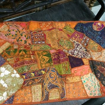 Moroccan Vintage Sari Tapestry Embroidered Patchwork Wall Hanging Throw