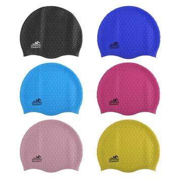 Silicon Men Women Summer Silicone Waterproof Swimming Cap Particles Swimming Hat Skiing Comma Hat Protect Ears Sports Swim Pool