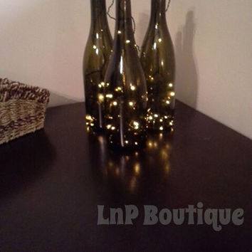 Lighted wine bottle set - set of three lighted wine bottles, wine bottle lamp, lighted bottle, wine bottle decor, upcycled wine bottle