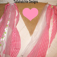 Burlap And Rag Tie Pennant Banner* Birthday Banner* Wedding Banner* Highchair Banner*Party Banner* Burlap Banner With Pink Hearts