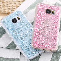 Ultra Thin Gold Sequins Spangly Paillette Clear Soft TPU Case For Samsung Galaxy S7 G9300/ S7 Edge G9350 Cute Transparent Cover