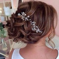 Bridal Crystal & Pearl Wedding Proms Hair Vine Comb Headband Pin Headpiece