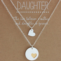 Mother Daughter Necklace Set - mother's necklace - daughter's necklace - jewelry gift - mother daughter gift - wedding - mother of the bride