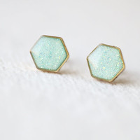 Hexagon Geometric Shimmering Mint Brass Stud Earrings