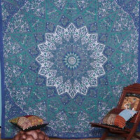 Shopnelo Kaleidoscopic Star Tapestry Intricate Floral Design Indian Bedspread Labhanshi