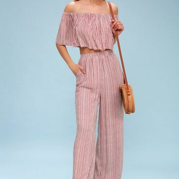 Birch Mauve Striped Off-the-Shoulder Two-Piece Jumpsuit