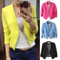 2014 New S M L Korea Women Candy Color Solid Slim Fold Sleeve Suit Jacket Blazer Coats = 1958797764