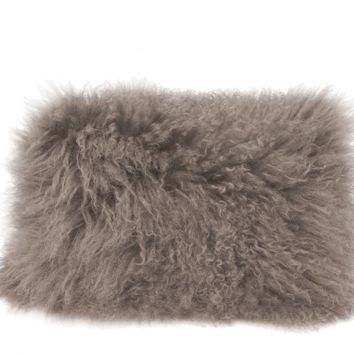 Lamb Fur Pillow Rectangular Grey Wool