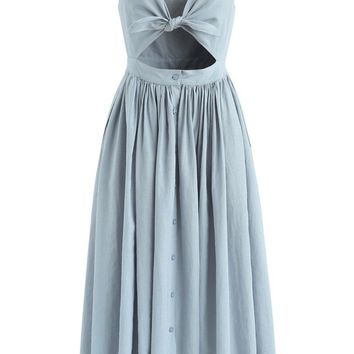 Take A Bow Cami Dress in Dusty Blue