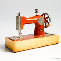 Vintage Sewing Machine Red Orange Small Toy Russian Hand Cranked