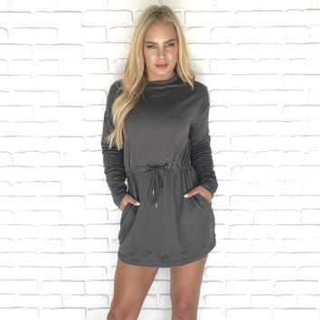 Nothing Better Olive Fleece Dress