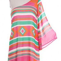 Aztec One Shoulder Dress