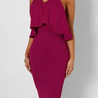 Delana Raspberry Halterneck Frill Top Midi Dress