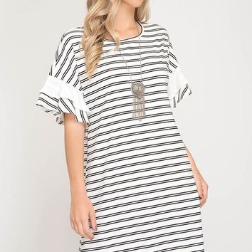 Sailor Stripes Shift Dress - Off White