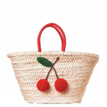 Red Cherry Pom Pom Ball Beach Bags Women Shoulder Handmade Woven Straw Handbags Summer Large Totes Boho Shopping Bags Basket A26