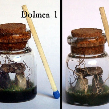 Miniature. Dolmen. Celtic standing stones bottle charm. Real stones and wood. Realistic. Albion collection. Druids. Wicca. OOAK.