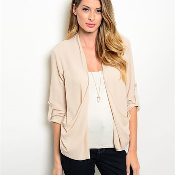 Sandy Nude Relaxed Pocket Blazer