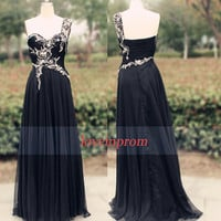 100% Handmade beading chiffon black prom dress,long prom dress,black evening dress,black one shoulder formal evening dress/bridesmaid dress