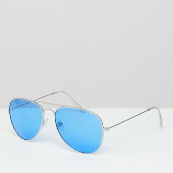 Jeepers Peepers aviator sunglasses with blue tinted lens at asos.com